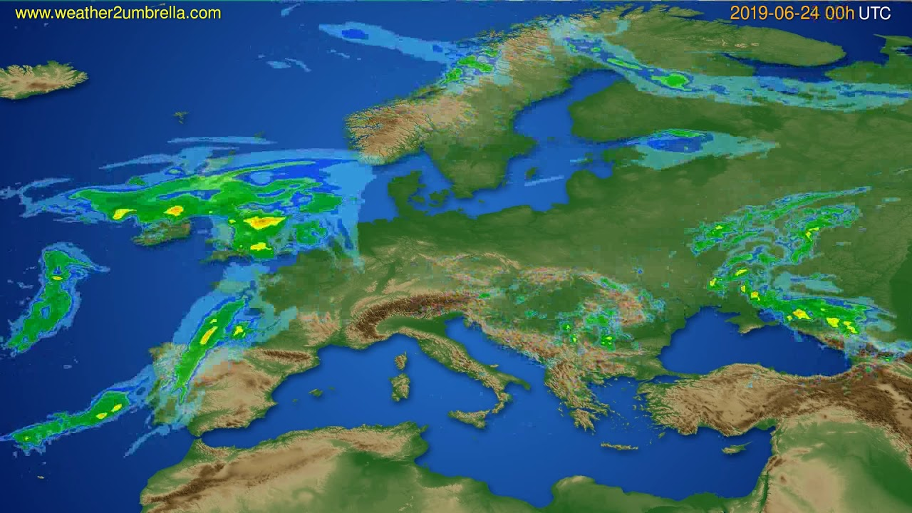 Radar forecast Europe // modelrun: 12h UTC 2019-06-23