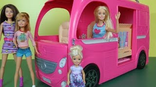 This toys dolls parody video shows BARBIE and her sisters taking a TRIP in a beautiful multi purpose Recreational Vehicle!