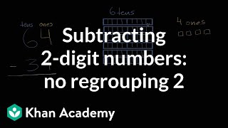 Sal subtracts 31 from 64 by thinking about tens and ones.Watch the next lesson: https://www.khanacademy.org/math/cc-2nd-grade-math/cc-2nd-add-subtract-100/cc-2nd-sub-two-dig-intro/v/regrouping-to-subtract-one-digit-number?utm_source=YT&utm_medium=Desc&utm_campaign=2ndgradeMissed the previous lesson? https://www.khanacademy.org/math/cc-2nd-grade-math/cc-2nd-add-subtract-100/cc-2nd-sub-two-dig-intro/v/subtracting-2-digit-numbers-without-regrouping?utm_source=YT&utm_medium=Desc&utm_campaign=2ndgrade2nd grade on Khan Academy: Learn to see three-digit numbers as hundreds, tens, and onesAbout Khan Academy: Khan Academy is a nonprofit with a mission to provide a free, world-class education for anyone, anywhere. We believe learners of all ages should have unlimited access to free educational content they can master at their own pace. We use intelligent software, deep data analytics and intuitive user interfaces to help students and teachers around the world. Our resources cover preschool through early college education, including math, biology, chemistry, physics, economics, finance, history, grammar and more. We offer free personalized SAT test prep in partnership with the test developer, the College Board. Khan Academy has been translated into dozens of languages, and 100 million people use our platform worldwide every year. For more information, visit www.khanacademy.org, join us on Facebook or follow us on Twitter at @khanacademy. And remember, you can learn anything.  For free. For everyone. Forever. #YouCanLearnAnythingSubscribe to Khan Academy's 2nd grade channel: https://www.youtube.com/channel/UCNKAFuuw3dpsiSl9n90zgvw?guided_help_flow=3?sub_confirmation=1Subscribe to Khan Academy: https://www.youtube.com/subscription_center?add_user=khanacademy