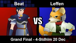 Leffen (Fox) vs Beat (Marth) @ 4Stockedholm 12/20/14