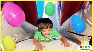 HUGE EGGS SURPRISE TOYS CHALLENGE for kids on inflatable slides