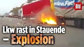 Tragiczny wypadek i wybuch. Nagranie z wideorejestratora w Niemczech