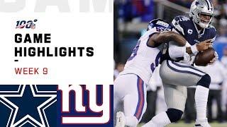 Cowboys vs. Giants Week 9 Highlights | NFL 2019