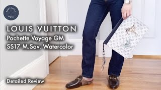 Detailed review and modeling of the Louis Vuitton Pochette Voyage GM in Monogram Savane Watercolor from the men's Spring/Summer 2017 collection – a collabora...
