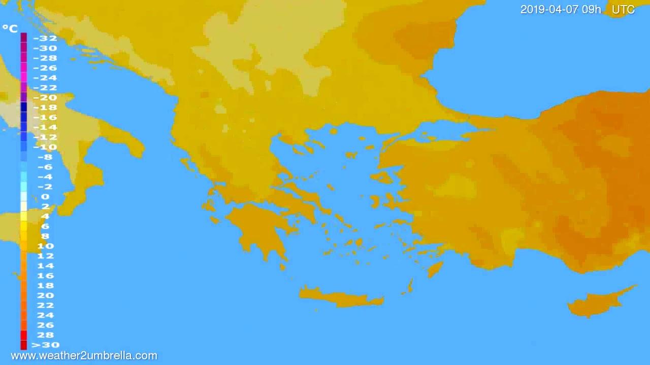 Temperature forecast Greece // modelrun: 00h UTC 2019-04-05
