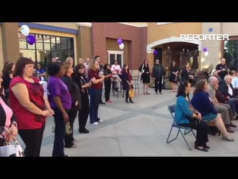 Suisun City Mayor, Pete Sanchez reads a proclamation at the opening of the American Cancer Society's