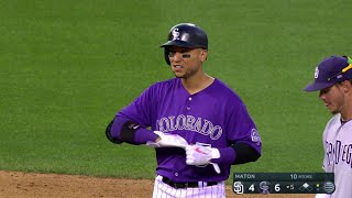 Carlos Gonzalez gives the Rockies their first lead of the game as he lines a two-run double into the alley in right-center field...