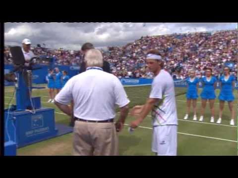 david nalbandian disqualified - David Nalbandian is disqualified from the AEGON Championships at Queens after accidentally injuring a linesman during an angry outburst. He was playing again...