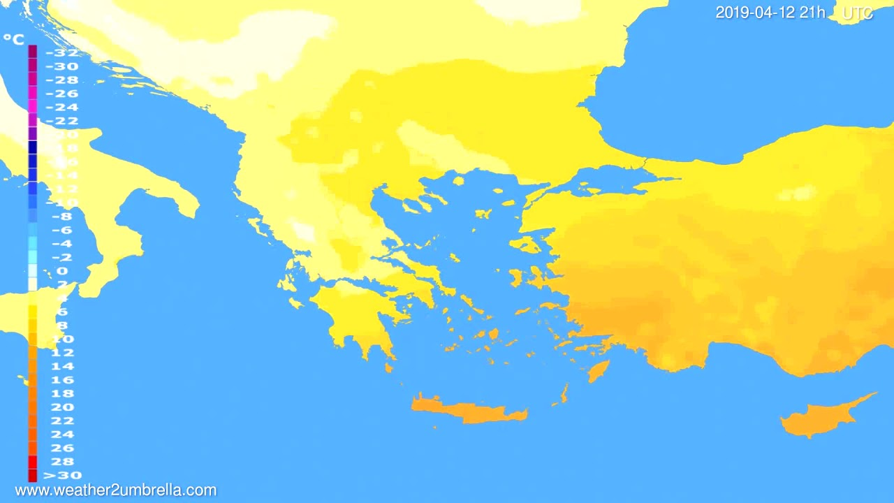 Temperature forecast Greece // modelrun: 00h UTC 2019-04-11