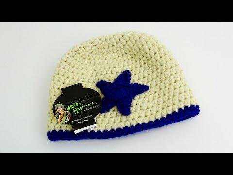 Häkeln Mütze Wintermütze mit Stern Wolle warm süß Crochet Anleitung