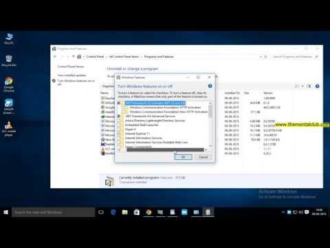 How to enable Microsoft .Net Framework in Windows 10