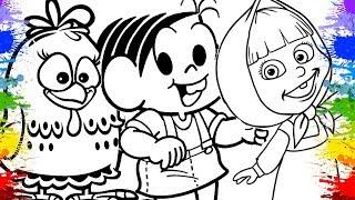 Jogos de meninas - Jogo de Colorir Pintar Desenhos da Turma da Mônica Galinha Pintadinha Masha e o Urso Video infantil