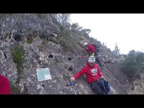Tirolina, via ferrata Fuente Godalla, Enguera   Video