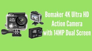 Bomaker 4K Ultra HD Action Camera with 14MP Dual ScreenFull product review for GooBang Doo Bomaker Action Camera. With powerful features and a lightweight compact design, the camera takes outstanding HD videos and crystal clear 14MP photos. The built-in Wi-Fi connectivity allows you to stream live footage, edit videos and photos, and share instantly all from your phone.Bomaker 4K Ultra HD Action CameraUKhttp://amzn.to/2upPp8vSpecificationsLens: 7G 170°A+ HD Ultra-wide-angle lensDisplay: 2 ' LTPS LCD + 0.95 inch front OLED screenWI-FI: Built in802.11(b/g/n)Controller: 2.4G Wrist remote controllerFocus: 12cm~InfinitePhoto: 14M/12M/10M/8M PhotoMode: Single Shot/Continuous Shooting/Selftimer(2s/5s/10s/20s/30s/60s)Video Resolution:4K @30fps/ 2.7K@ 30fps/1080P@60fps 30fps/720P 120fps 60fps/Compress Format: H.264Audio: WAV Format (Bitrate:176kbps)Storage: Micro SDHC/SDXC Class10 16~ 128GBBattery: 3.7V Li-ion Battery 1050 mAh Recording Time:Max 60mins @ 4k/1080P 60fps;Max 90mins @ 1080P 30fps TF Card: Support SDHC and SDXC Class10 up to128GBInterfaces: High Speed USB2.0 &Mini HDMI (Type D)Note:The maximum capacity SD Card is 128GB.Class 10 speed ratingWhy not join our forumhttp://www.briteccomputers.co.uk/forum