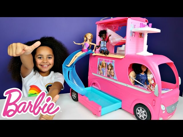 Barbie Pop Up Transform Camper Van Rv Swimming Pool Party Slide Waterpark Adventure Toy Review