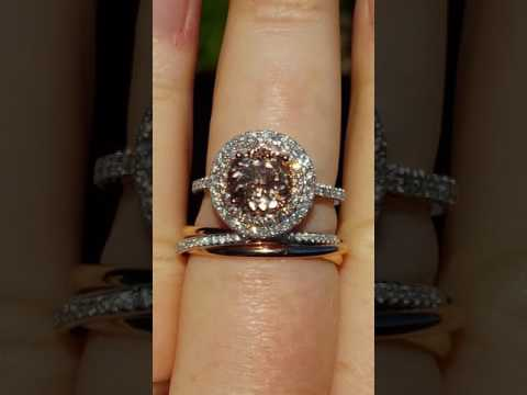 Tri-Color Rolling Wedding Band with Morganite Double Diamond Halo Engagement Ring