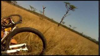 Mountain Biker gets taken out by BUCK