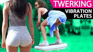 """Twerking on Vibration Plates is not as easy as it looks.  We did various challenges at this years Wireless Music Festival in London from Squat Strength Training to simple twerk offs.Music By:Flechette  - """"Fallback""""https://soundcloud.com/flechettemusicNextRO & Wizard - """"Bad Bitch""""https://soundcloud.com/nextrotrvpHost: April HamiltonDJ: DJ ChillzCamera: Nathalie GordonFollow Jump Off TVhttp://facebook.com/JumpOffTVhttp://instagram.com/JumpOffTVhttp://twitter.com/JumpOffTVhttp://www.jumpoff.tvBookings & Business Enquiries info@jumpoff.tv"""