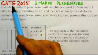 Video Solution to GATE 2015 Problem - Plane Waves - Electromagnetics