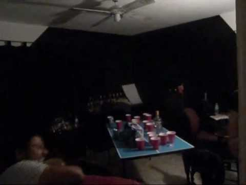 Drunk mexican pushed through beer pong table by drunk fat white kid funny