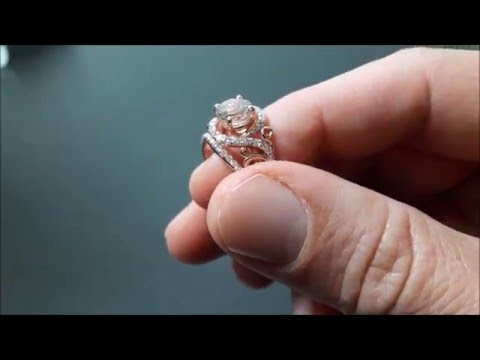 14K Rose Gold Morganite Engagement Ring Set Unique Rose Gold Morganite Ring with Matching Band