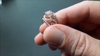 14K Rose Gold Morganite Engagement Ring Set Unique Rose Gold Morganite Ring with Matching Band