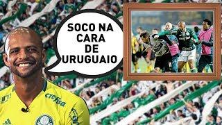 O volante Felipe Melo, do Palmeiras, tem um quadro bizarro na sala de casa: o objeto exibe uma foto do soco dado por ele no...