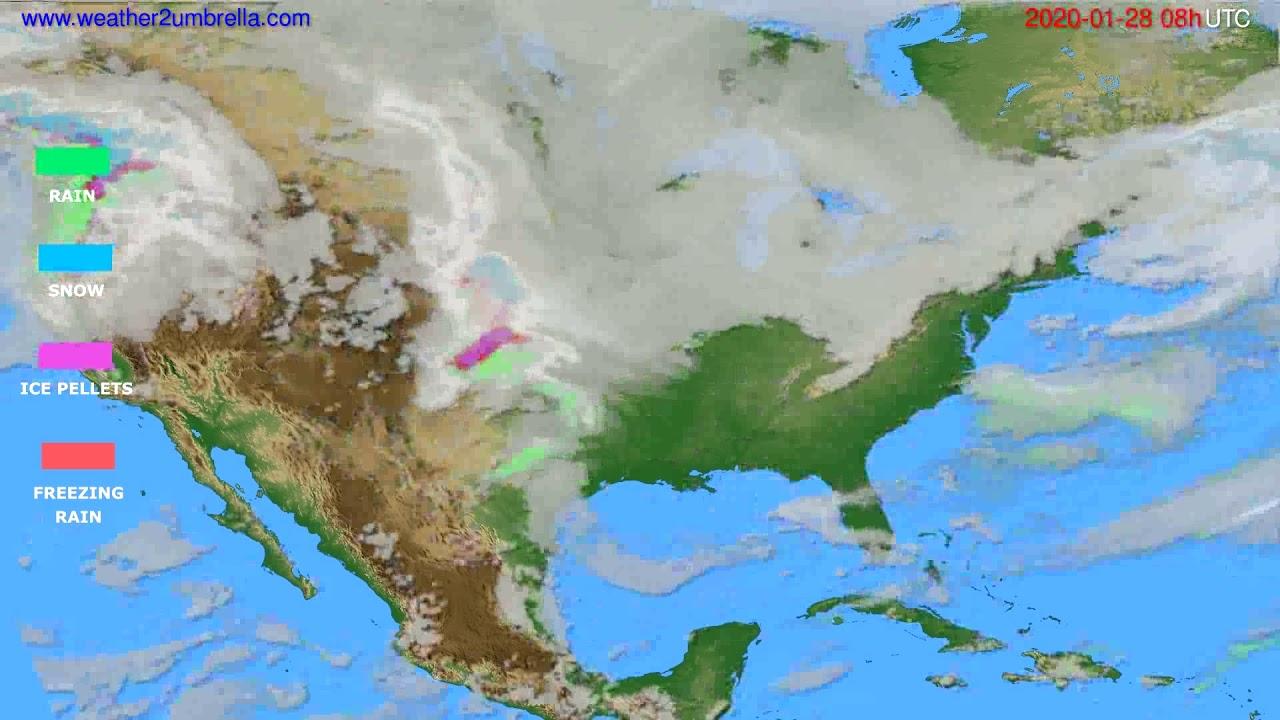 Precipitation forecast USA & Canada // modelrun: 12h UTC 2020-01-27