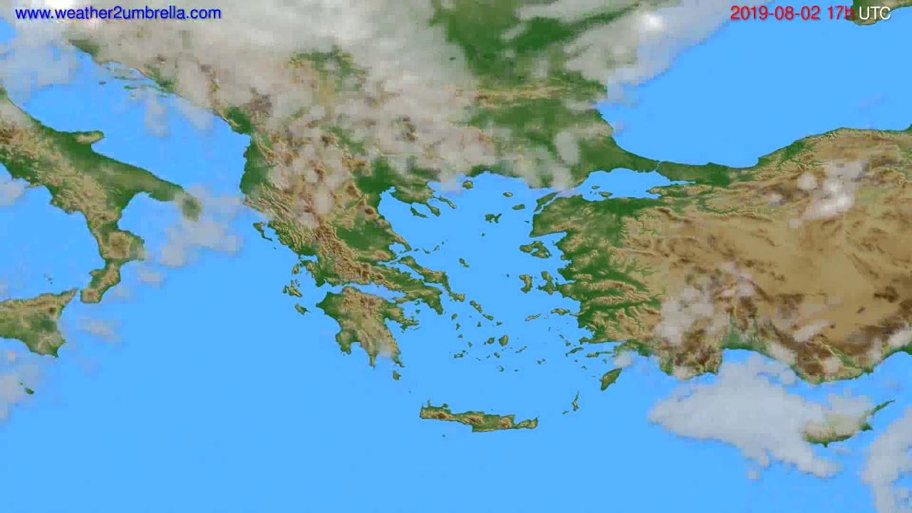 Cloud forecast Greece // modelrun: 12h UTC 2019-07-31