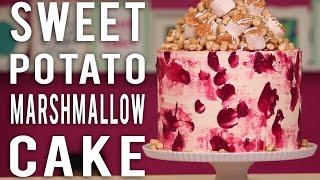 How To Make A SWEET POTATO MARSHMALLOW CAKE! Thanksgiving Sweet Potato Cake With Spiced Buttercream!