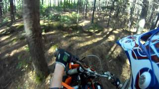 8. 2009 ktm xc 250 riding in the trails