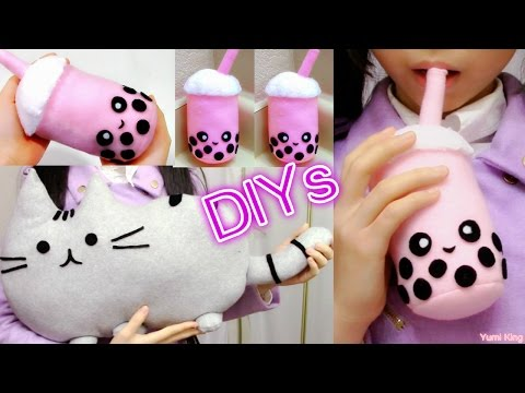 Room Decor/Holiday Gifts DIYs:  DIY Pusheen Cat Pillow/Plush+DIY Bubble Tea Plush+Review