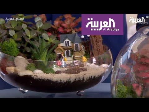 العرب اليوم - شاهد: الحدائق المصغرة في أحواض زجاجية تطغى على النباتات التقليدية