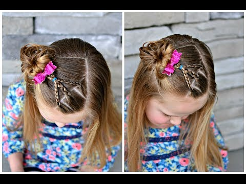 Braid hairstyles - Cute Preschool Hairstyle: Side Braid and Messy Bun
