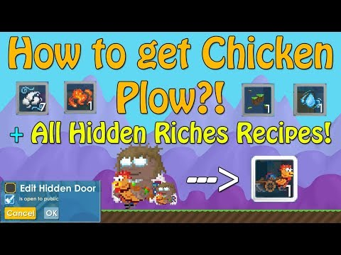 How To Get Chicken Plow?! + Riding Chicken? + All Hidden Riches Recipes | Growtopia 2017