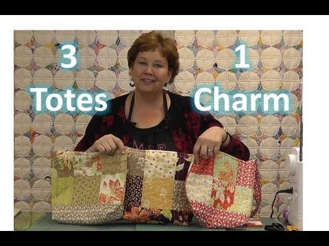 purses - http://missouriquiltco.com -- Jenny Doan demonstrates how nifty charm packs are by making three tote bags / purse out of a single charm pack! To see the larg...