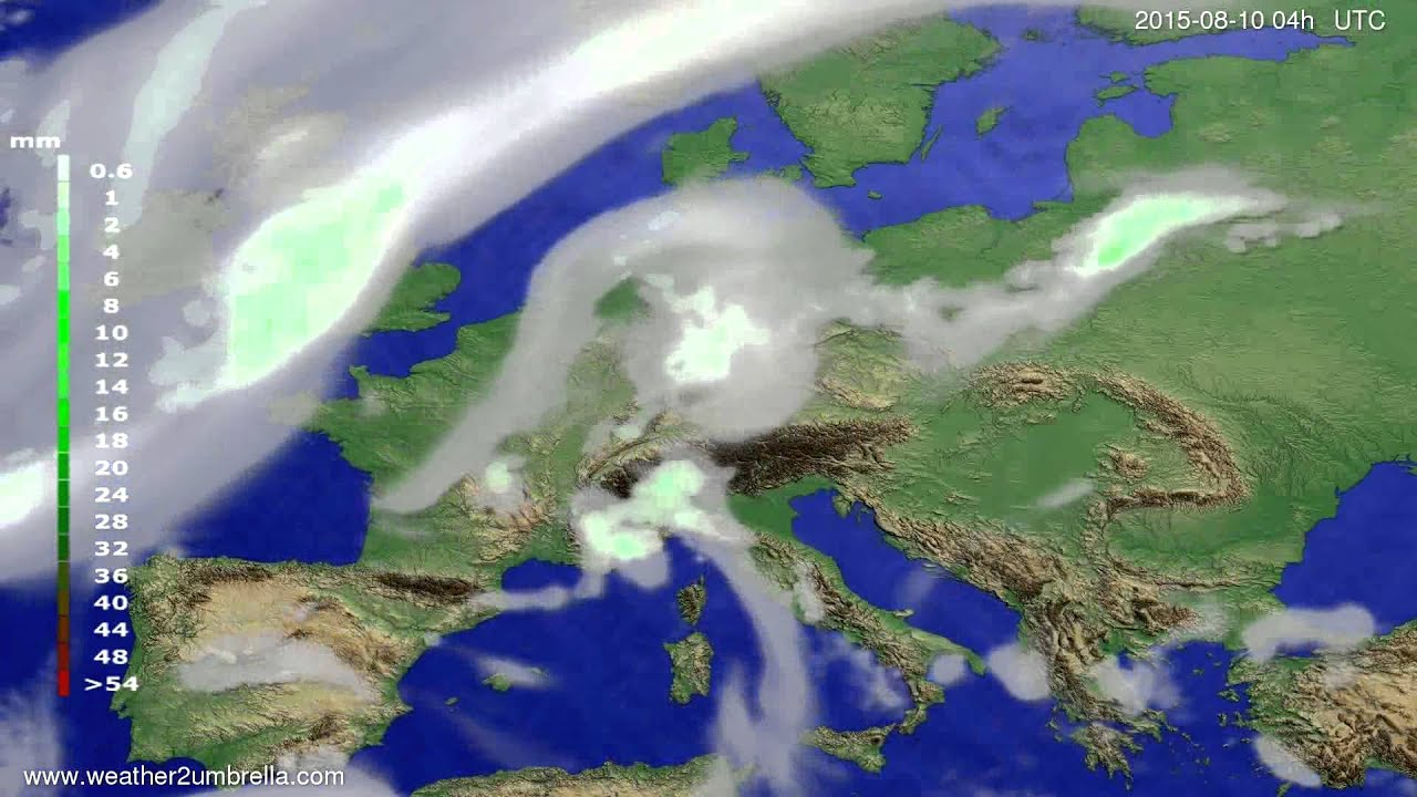Precipitation forecast Europe 2015-08-06