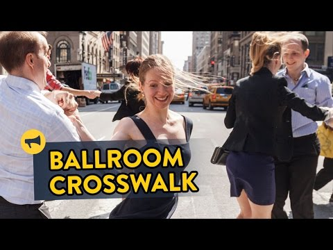 Ballroom dancing in a busy NYC crosswalk