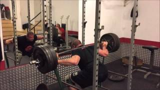 Squat 3x 250 kg and some bands. the band tension was not too heavy, so it was probably just a few kgs more at the top.