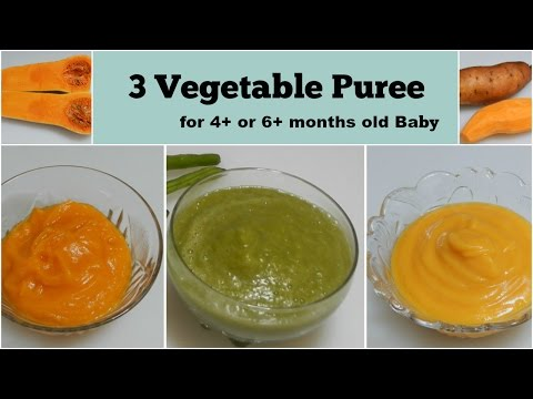 3 Vegetable Puree For 4+ Or 6+ Months Baby L Healthy Baby Food Recipe L Stage 1 Homemade Baby Food