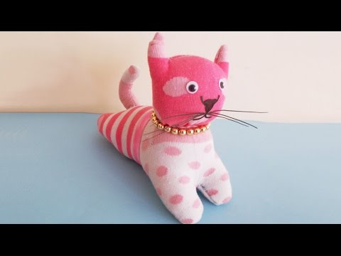 Easy Sewing Project : How to Make DIY Stuffed Cat Toy From Socks | DIY Socks Crafts & Toy Making