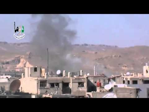 ريف دمشق دوما تصاعد الدخان جراء القصف العنيف على المدينة