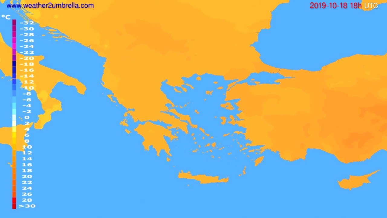 Temperature forecast Greece // modelrun: 12h UTC 2019-10-16