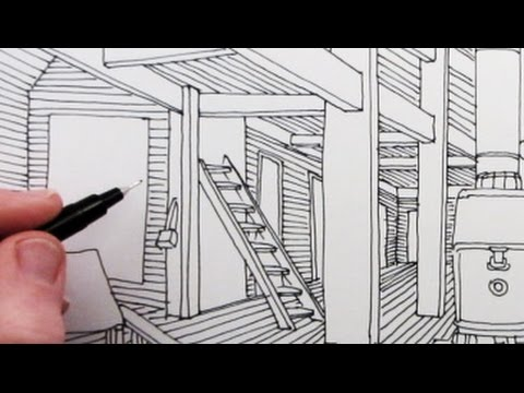 How to Draw a Room in Linear Perspective: Time-Lapse