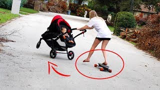 Video Riding Electric Skateboard While Pushing A Stroller! (Bad Idea) MP3, 3GP, MP4, WEBM, AVI, FLV Juli 2018