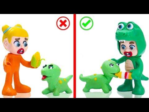 SUPERHERO BABY PET CARE DINOSAUR INFANT  Cartoons Play Doh Stop Motion