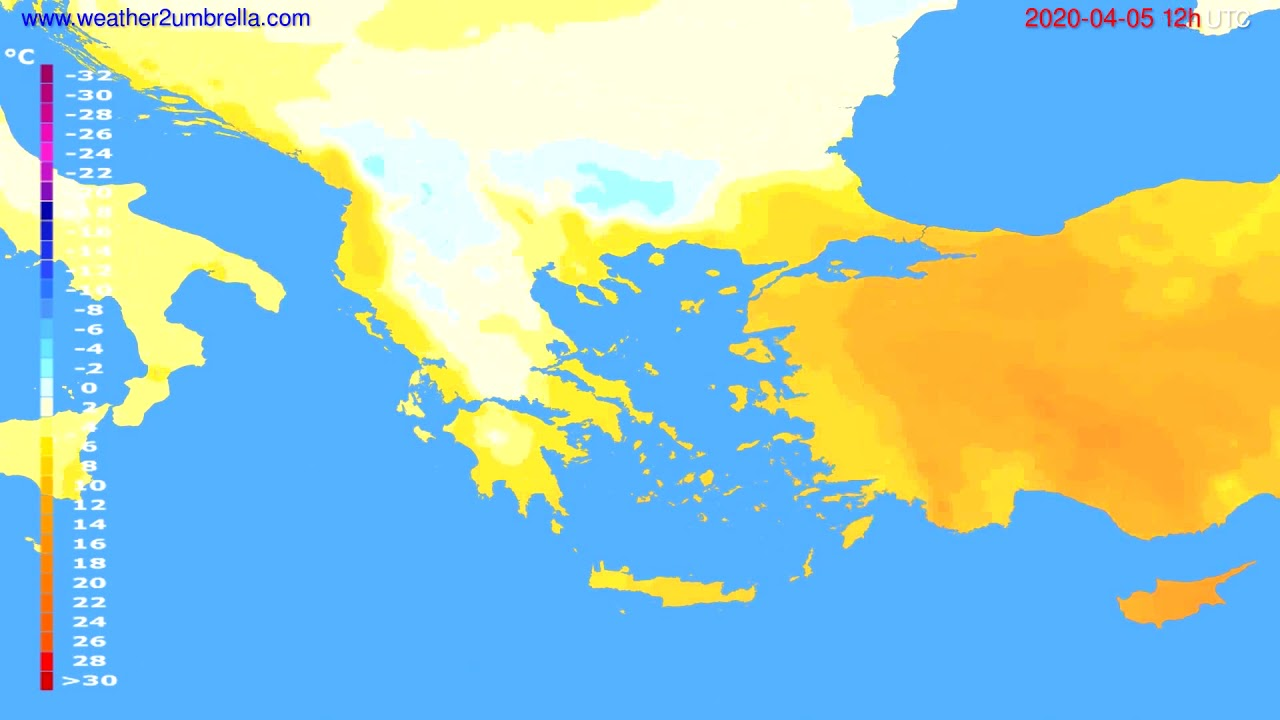 Temperature forecast Greece // modelrun: 00h UTC 2020-04-05
