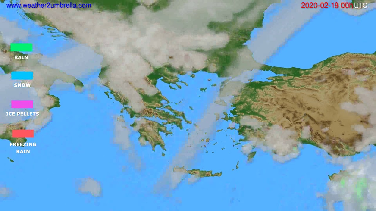 Precipitation forecast Greece // modelrun: 00h UTC 2020-02-18