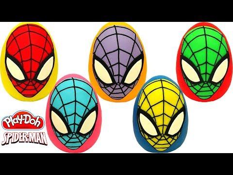 Peppa Pig en español - Aprende los Colores con 5 Huevos Sorpresas de Spider Man en Español de Plastilina Playdoh