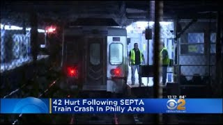 42 people were injured when a high-speed commuter train crashed into a parked train at a station near Philadelphia.